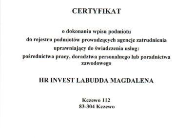 Certyfikat Agencji Pracy