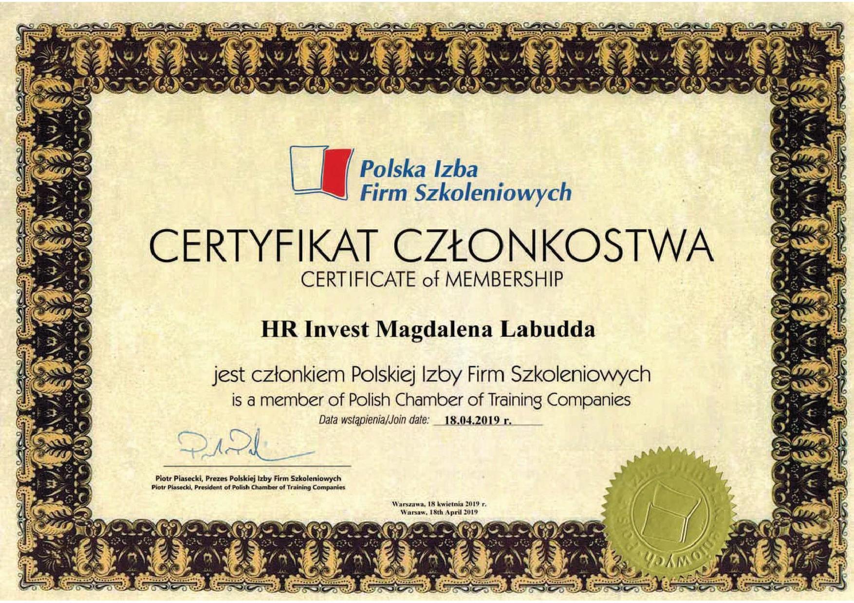 Certyfikat Członkostwa w Polskiej Izbie Firm Szkoleniowych