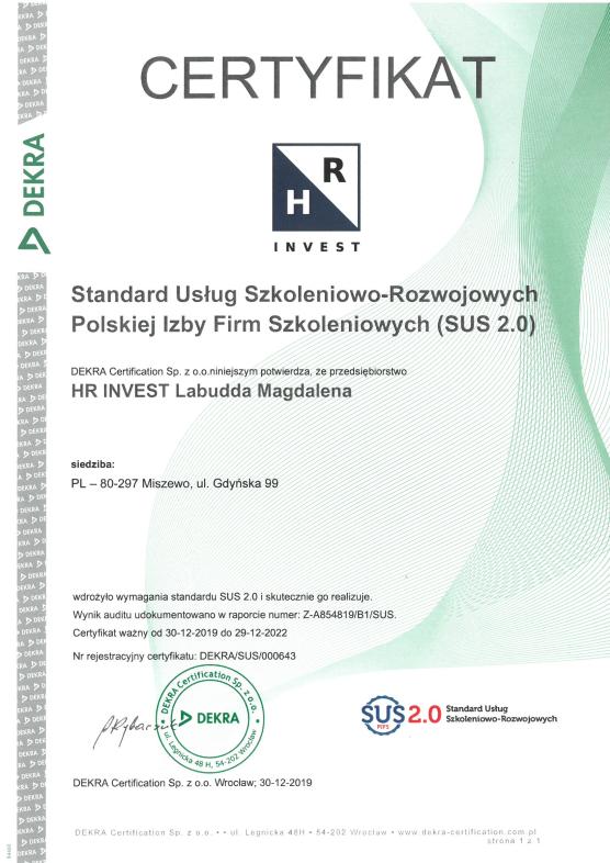 Standard Usług Szkoleniowo-Rozwojowych PIFS SUS 2.0